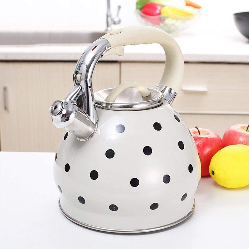 vividesire 3.5L Black Dot Pattern Whistle Teapot Stainless Steel Whistling Kettle Hemispherical Non-Magnetic Flat-Bottomed Pot with Cool Grip Ergonomic Handle advantageous