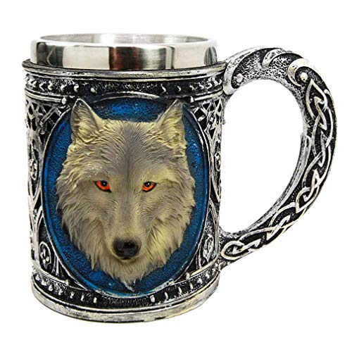 (Resin Medieval Wolf Coffee Cups Stainless Steel 3D Design Mugs)