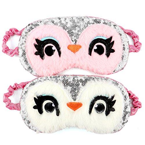 Owl Sleeping Mask 2Pack Cute Sequins Soft Plush Blindfold Eye Cover for Women Girls