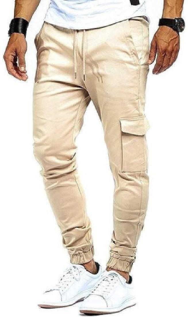 CRYYU Men Pure Color Drawstring Casual Sport Multi-Pockets Cargo Jogger Pants