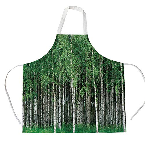 Farm House Decor 3D Printed Cotton Linen Apron,Swedish Summer Landscape with Birch Trees and Trunks Northern Rural Seasonal Scenery,for Cooking Baking Gardening,Green Grey from Evhspp Apron