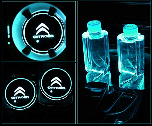 hyundai monochef Auto sport 2PCS LED Cup Holder Mat Pad Coaster with USB Rechargeable Interior Decoration Light