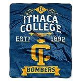 NCAA Ithaca Bombers Plush Raschel Throw Blanket, Blue, 50' x 60'