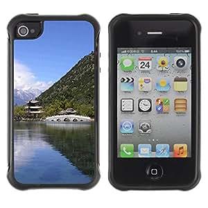 Pulsar Defender Series Tpu silicona Carcasa Funda Case para Apple iPhone 4 / iPhone 4S , Nature Asian Temple