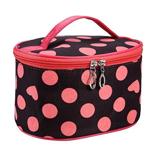 Farjing Dot Series Portable Cosmetic Bag Travel Toiletry Makeup Cosmetic Bag Organizer Holder Handbag(Orange)