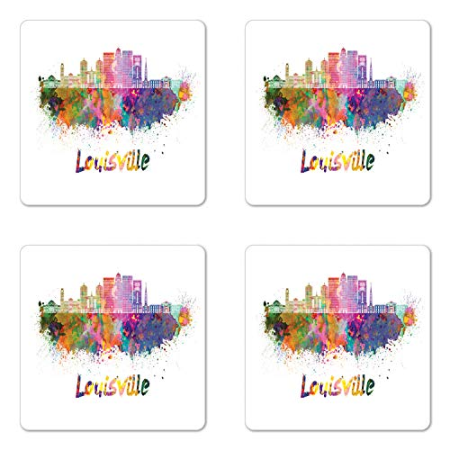 Lunarable Kentucky Coaster Set of Four, Watercolor Paint Splashes Grunge City Silhouettes Rainbow Louisville Lettering, Square Hardboard Gloss Coasters for Drinks, Multicolor ()