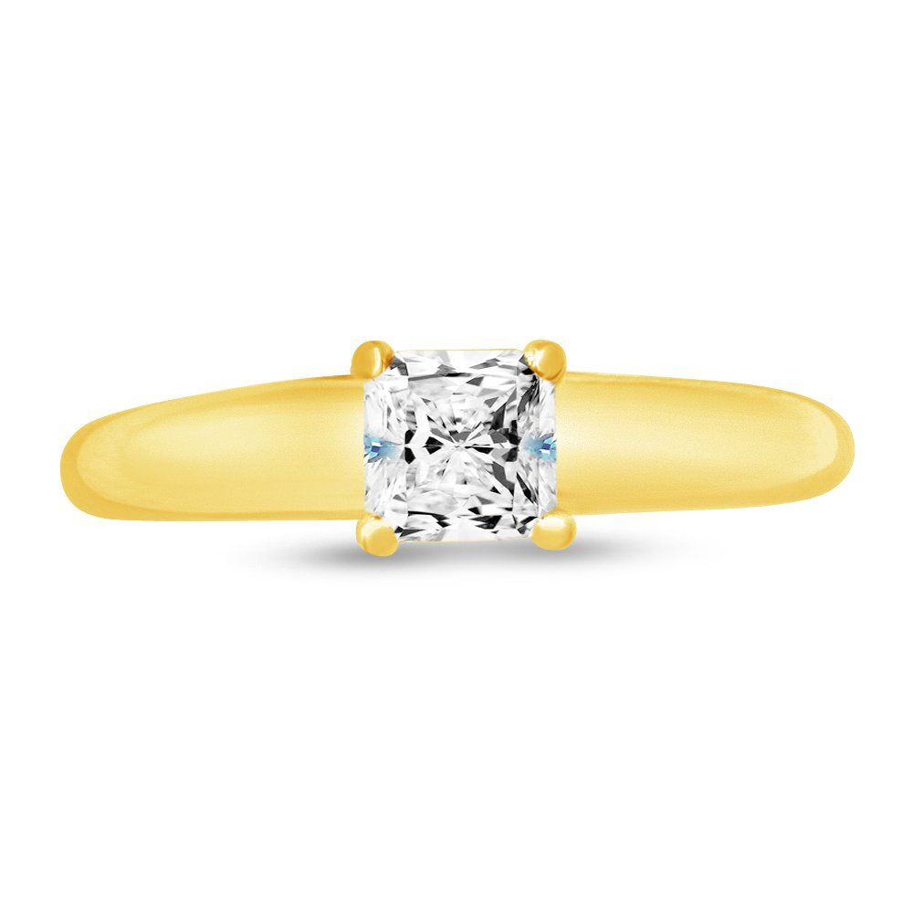 Solid 14k Yellow Gold Princess Petite Solitaire Engagement Ring Highest Quality CZ Cubic Zirconia (1/2 cttw., .50ct. Center) Sonia Jewels 28326483625