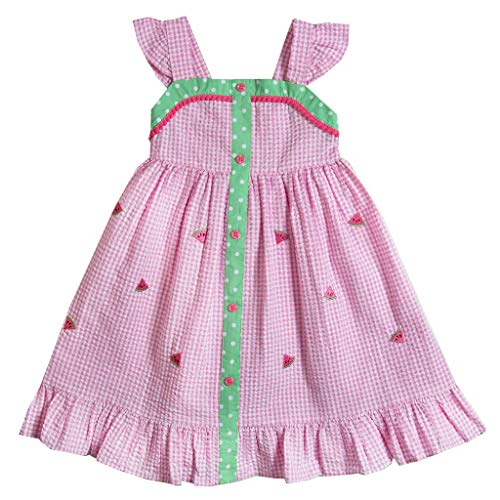(Good Lad Toddler Thru 4/6X Girls Pink Seersucker Sundress with Watermelon Appliques (3))