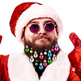 Tang Town Beard Ornaments - Christmas Facial Hair Baubles with 4 pcs Jingle Bells and 12 pcs Colors of Christmas Baubles, Easy Attach Mini Mustache, Sideburns, Goatee Whisker Clips for Family, Santa