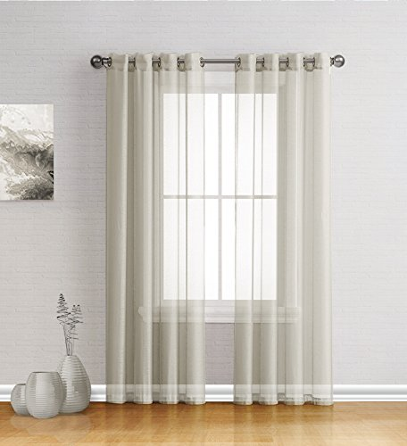 Best Sheer Grommet Window Curtains Panels for Bedroom, Living Room, Kitchen, Kid's Room and Outdoors Durable Polyester-2 Pieces (Ivory, 54