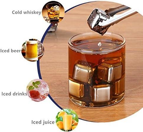 Cubetti di Ghiaccio per il Whiskey Riutilizzabili Set di Pietre da Whisky Cubetti Refrigeranti con Sottobicchieri Pinze VieVogue Whisky Stones Set di Regalo in Acciaio Inox Set di 8
