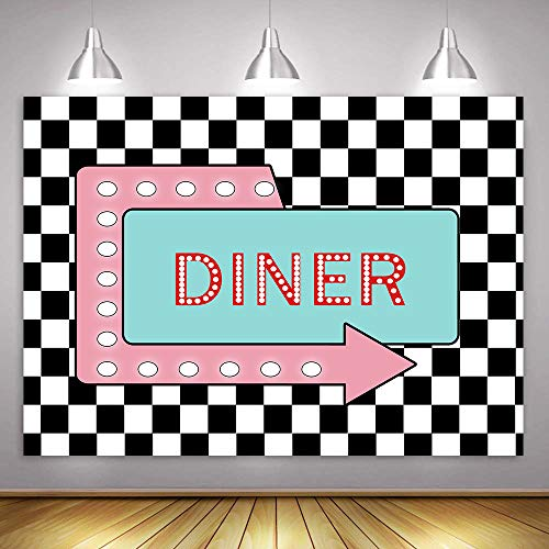 Black and White Plaid Dinner Background for Photography MME 10x7Ft Family Dinner Theme Party Photo Booth Studio Props HXME289 -