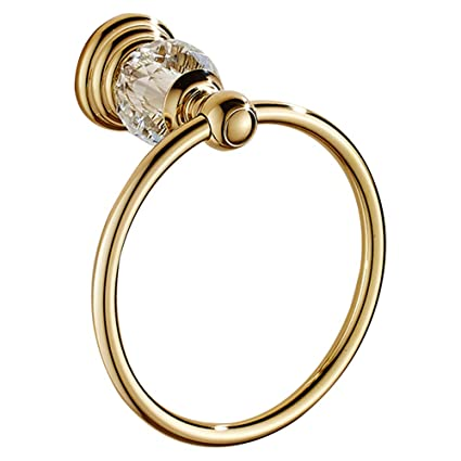 Wall Mounted Gold Finish Brass Bathroom Crystal Towel Ring Round Towel Holder