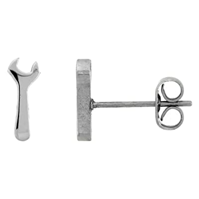 Small Stainless Steel Wrench Stud Earrings 1/2 inch: Jewelry