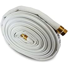 """White 1"""" x 50' Double Jacket Mill Hose with Brass Garden Hose Thread (GHT) Couplings"""
