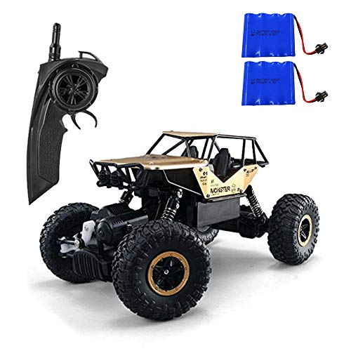 1/18 Alloy RC Cars with Two Batteries Remote Control Truck 4x4 Off Road Rock Crawler for Boys 2.4GHz Radio Controlled Monster for Kids (Gold) ()