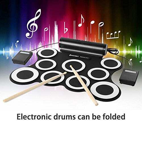 Roll Up Electronic Drum Set Kits 3009 9 Pads Built-in Speakers For Practice