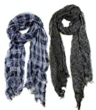​John Varvatos Fashion Scarf 2-Pack with Skull Print (1) Blue Plaid 72 x 12; (1) Grey/Brown Leopard Skull 76 x 18)