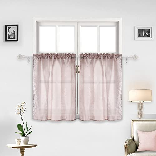 Deconovo-Rod Pocket 36 Inch Length Jacquard Voile Sheer Tier Curtains for-Kitchen, 29×36 Inch, Khaki