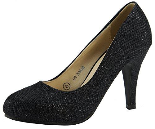 Bella Marie Metallic Sparkle Mesh Overlay Ocasión Especial High Heel Round Toe Pump Black