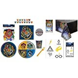 Harry Potter Party Supplies for 8 Guests - Plates Napkins Cups Cutlery Banner Tablecover Tattoos and Exclusive Themed Sticker (Ref06)