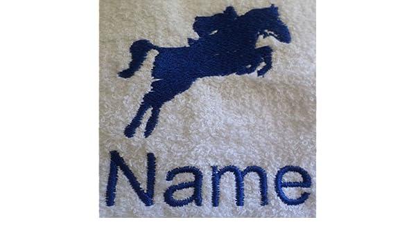 Albornoz con capucha infantil con un caballo Jockey Logo y nombre de su elección en Royal azul. Edades 2, 4, 6, 8, 10 o 12, azul real, 10 años: Amazon.es: ...