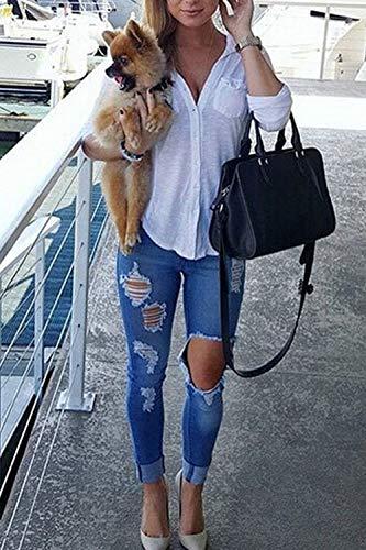 Jeans des Destoryed Jeans Blue Femmes yulinge Dchirs Cotton Les EZwqwXY