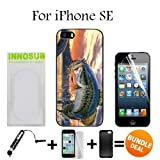 Pro Fishing Bass Mouth Custom iPhone SE Cases-Black-Plastic,Bundle 3in1 Comes with Screen Protector/Universal Stylus Pen by innosub