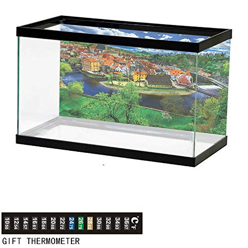 Suchashome Fish Tank Backdrop Wanderlust,View of Cesky Krumlov,Aquarium Background,36