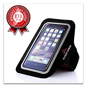 EVOLV GEAR Running Armband for iPhone 6 / 6S & Samsung Galaxy S5 / S6 / S7. Fit for Small to Medium Arms. Great for Exercise / Workout! FREE Weight Loss Guide Included!!!