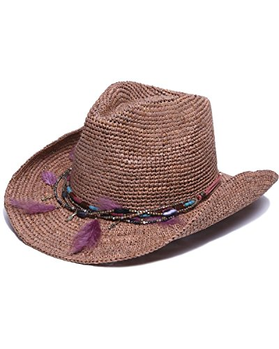 ale by Alessandra Women's Arabella Raffia Cowboy Hat With Rated UPF 40, Cocoa, One Size