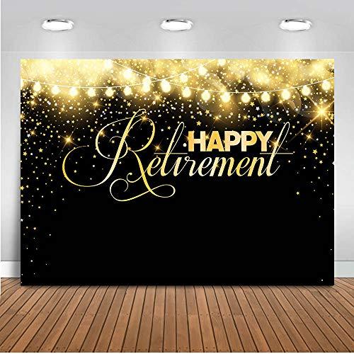 Mocsicka Happy Retirement Backdrop 7x5ft Vinyl Black and Gold Congrats Retirement Glitter Lights Photo Backdrops Retirement Event Party Banner Photography -