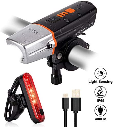 Wastou Light Sensing Bike Light Set, 400 Lumen Super Bright Cycling Lights and Bike Taillight, 6 Light Mode Fits All Bicycles