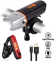 Wastou Light Sensing Bike Light Set, 400 Lumen Super Bright Cycling Lights and Bike Taillight, 6 Light Mode Fi