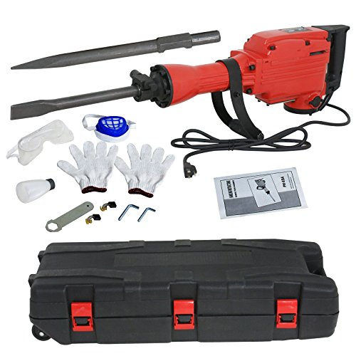 ZENSTYLE Heavy Duty Electric Demolition Jack Hammer 2200W Concrete Breaker Power Tool with 2 Chisel, 2 Punch Bit Set, Gloves, Oil Feeder Wrench, Mask, Safety Goggle and Case