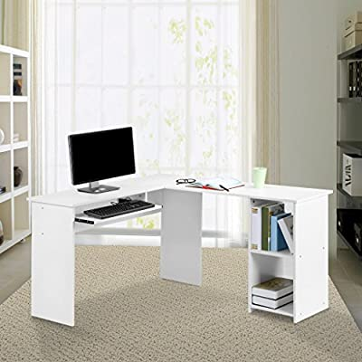 LANGRIA Computer Desk Home Office Desk, Modern Computer Table with 2 Drawers 2 Built-in Storage Compartments Sturdy Metal Legs Laptop Study Workstation, Black Walnut&White by LANGRIA