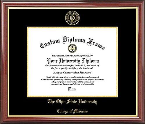 Laminated Visuals Ohio State University College of Medicine Buckeyes - Embossed Seal - Mahogany Gold Trim - Diploma Frame