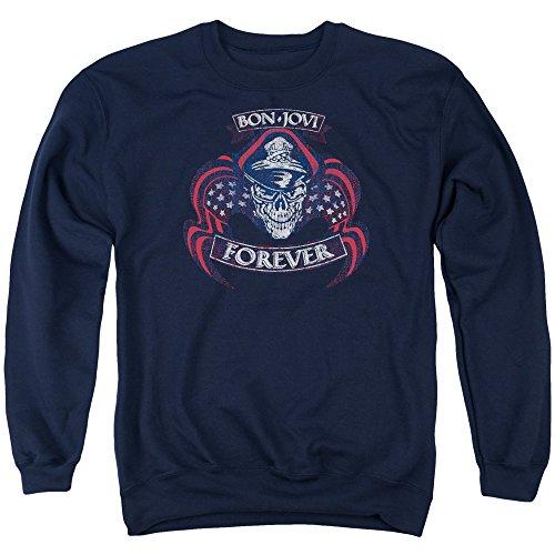 Forever Adult Sweatshirt (Bon Jovi - Forever Cap & Skull - Adult Crewneck Sweatshirt - 2XL)