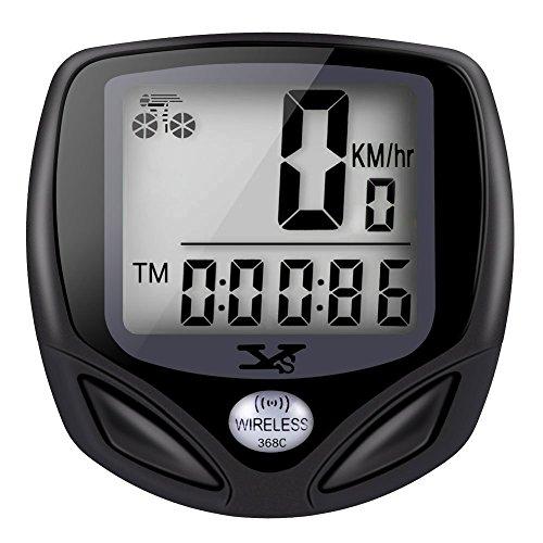 Tenswall Wasserdichtes Wireless Fahradcomputer Fahrrad Odometer Speedometer mit automatischer Weckfunktion und LCD Rücklicht 15 Funktionen - Schwarz