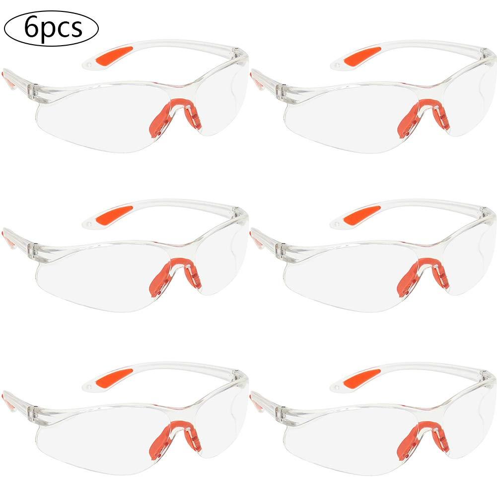 BETOY 6 pcs - Gafas de seguridad Transparentes ,Gafas protectoras ,Lentes Plástico incoloro anti-rayaduras y anti-vaho Ajuste Cómodo