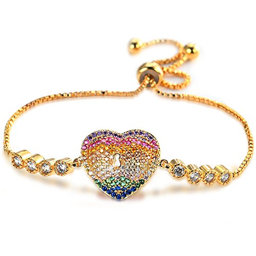 Everrich 24K Gold Plated Colorful Heart Shape Crystal Link Bracelet Chain Bracelet with Heart Charm Made with Swarovski for Women Girls