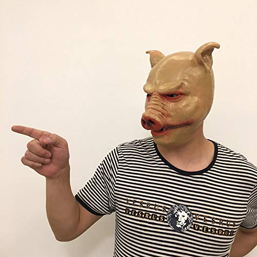 DeemoShop Unisex Pig Head Mask Animal Saw Pig Mask Cosplay Costume Latex Party Halloween Masquerade Prop Pilgrimage to The West Moive Tool by DeemoShop