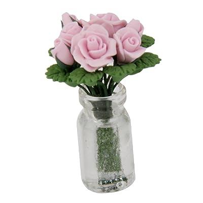 Ornment Meuble Bureau Miniatures Maison De Poupée Art Rose Dans Vase