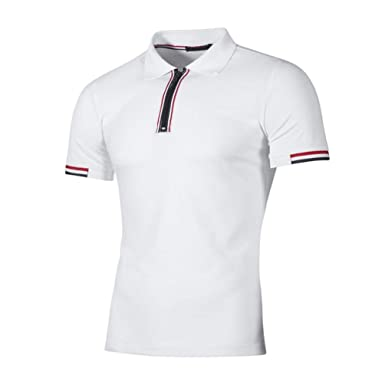 Polo Sport T-Shirt Uni Homme M à 2XL,Covermason Homme Polo Shirts Manche Courte Casual T-Shirt Mode Mince Fit Fawn Imprimer Chemise Tee Tops (Blanc#2, S)