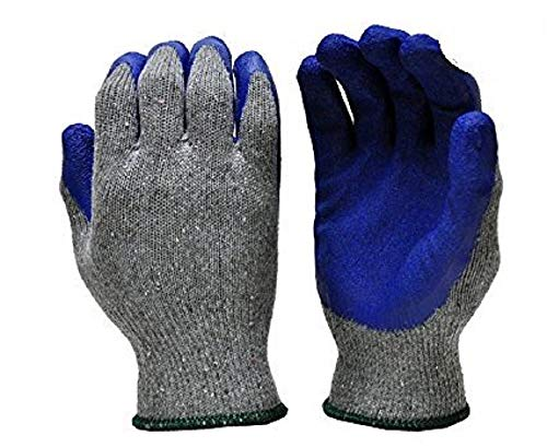 Safety Grip Protection Gloves Economical String Knit Latex Dipped Palm Gloves, Nitrile Coated Work Gloves for General Purpose, One Size, Blue & Gray (50)