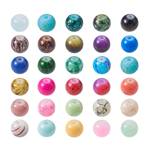 (PandaHall Elite 200 Pcs 6mm Spray Painted Glass Round Loose Beads Mixed Color for Jewelry Making)
