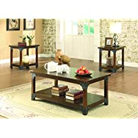 Coaster 703587 Home Furnishings 3 Piece Occasional Set, Tobacco