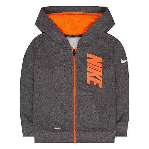 Nike 86B217-G1T Therma-FIT Fleece Logo Graphic Hoodie Kids Youth Sz 7 Gray