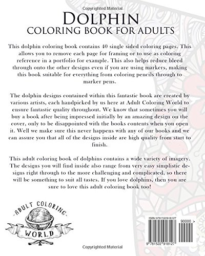 Amazon Dolphin Coloring Book For Adults An Adult Of Dolphins Featuring 40 Designs In A Variety Patterns Animal