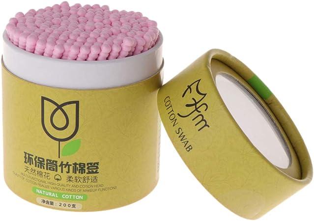 Yiwann bastoncillos de algodón, 200 piezas de bastoncillos de algodón de bambú, bastones de madera desechables, herramientas de maquillaje de doble cabeza rosa: Amazon.es: Hogar